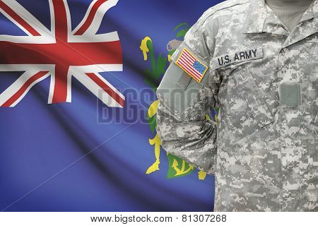 American Soldier With Flag On Background - Pitcairn Group Of Islands