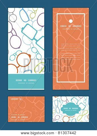 Vector colorful glasses vertical frame pattern invitation greeting, RSVP and thank you cards set