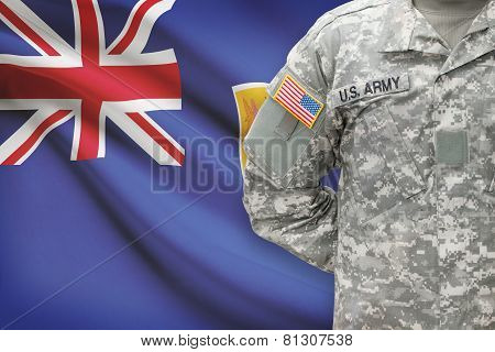 American Soldier With Flag On Background - Turks And Caicos Islands