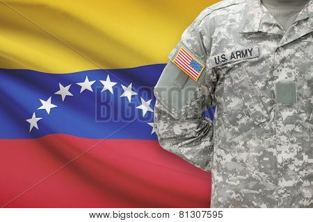 American Soldier With Flag On Background - Venezuela