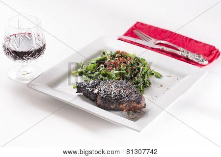 Freshly Seared Ribeye Steak  Served With Red Wine