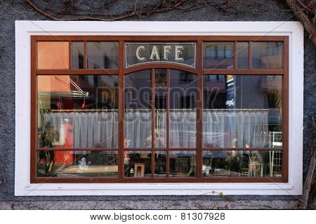 BAD ISCHL, AUSTRIA - DECEMBER 14: Window of coffee shop in Bad Ischl, Austria on December 14, 2014.