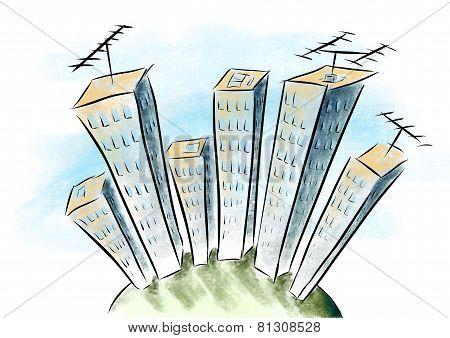 Cartoon Drawing Tower