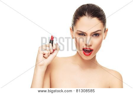 Beautiful Face Of Young Woman With Red Lipstick In Hand