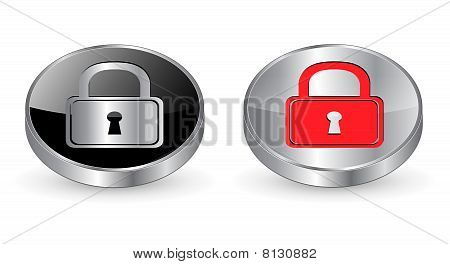 Padlock, secure icon, button.