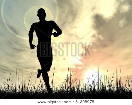Concept or conceptual human male or young man black silhouette running happy in summer grass over sky at sunset or sunrise background