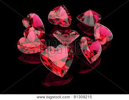 I love you. Heart shape gemstone. Collections of jewelry gems. Ruby