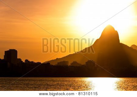 Rio de Janeiro Mountains and Lake by Sunset