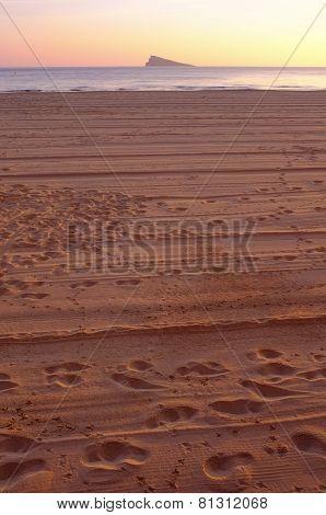 Footprints On Benidorm Beach