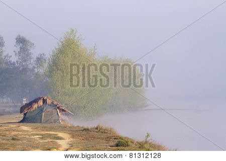 Fishing Hut along the lake, Bardia, Nepal