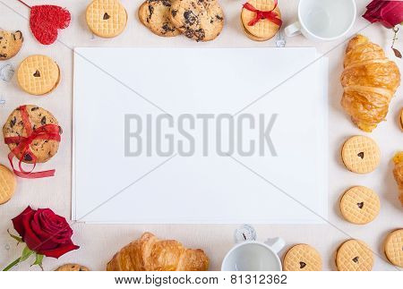 Valentines Day Background. Blank Note With Cookies And Roses