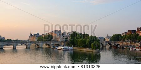 First Light Panorama Of The Ile De La Cite & The Seine River, Paris France.