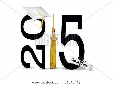 White 2015 graduation cap