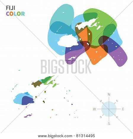 Abstract vector color map of Fiji with transparent paint effect.