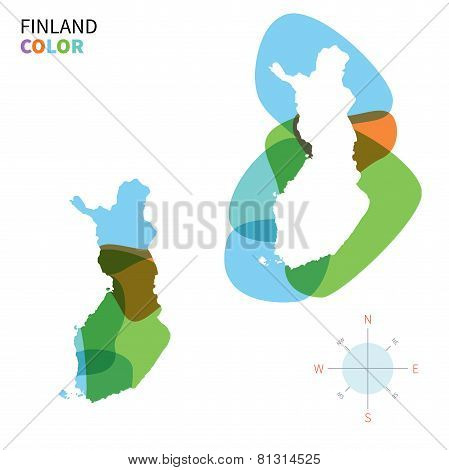 Abstract vector color map of Finland with transparent paint effect.
