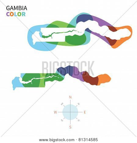 Abstract vector color map of Gambia with transparent paint effect.