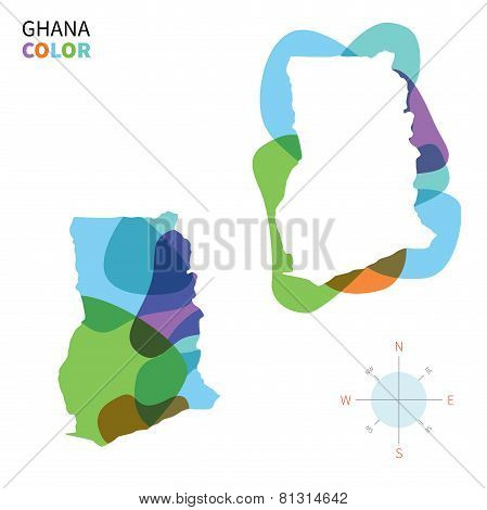 Abstract vector color map of Ghana with transparent paint effect.