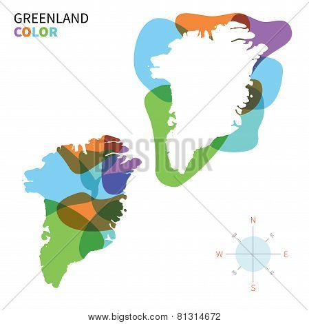 Abstract vector color map of Greenland with transparent paint effect.