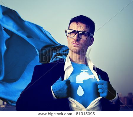 Water Saving Strong Superhero Success Professional Empowerment Stock Concept