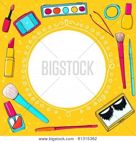Cosmetics background with make up tools