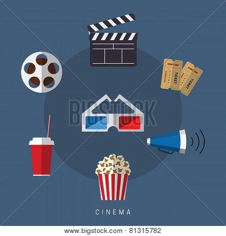 illustration of flat style movie and film icon set