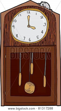 Isolated Antique Clock With Mouse