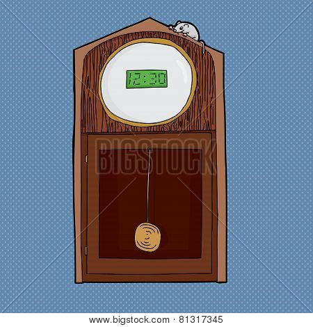 Clock With Digital Face And Mouse