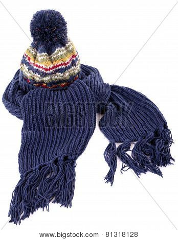 Blue Winter Bobble Hat And Scarf