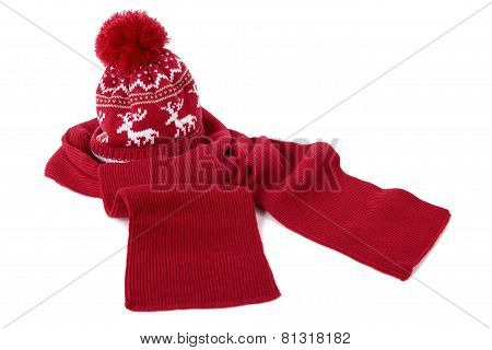 Red Bobble Hat And Scarf