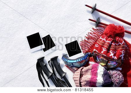 Ski Background With Blank Photo Prints