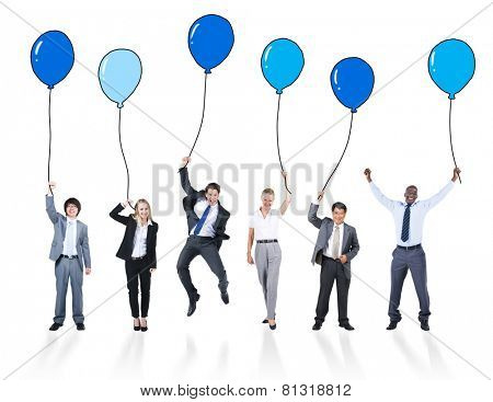 Playful Business People Holding Multicolored Balloons