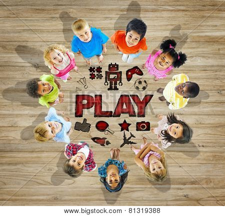 Multiethnic Group of Children with Play Concept