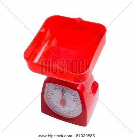 scale weight balance measuring kitchen red isolated on white bac