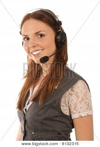 Smiling hotline operator on white background