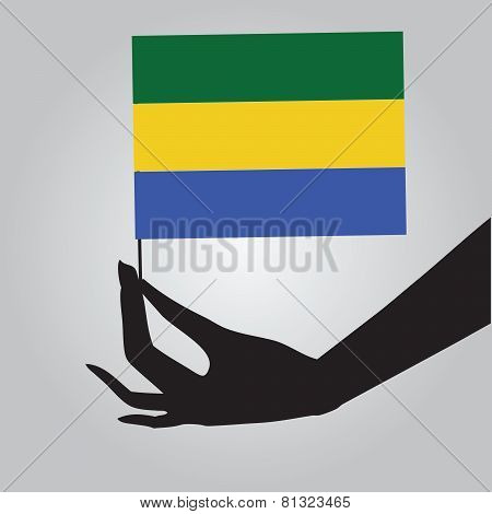 Hand With Flag Gabon
