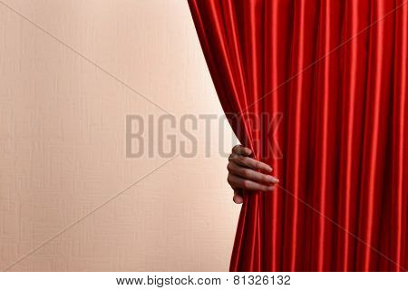 Red Curtain on wall background