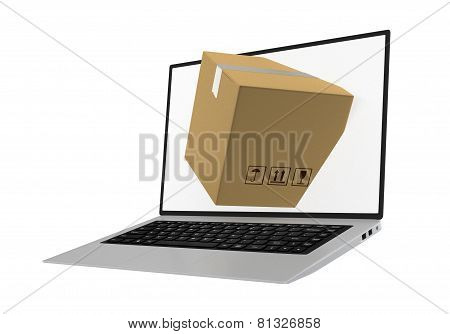 laptop with package shipment