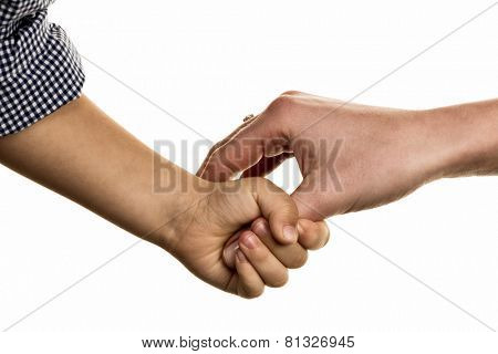 small and large hand symbolism for trust, protect, security