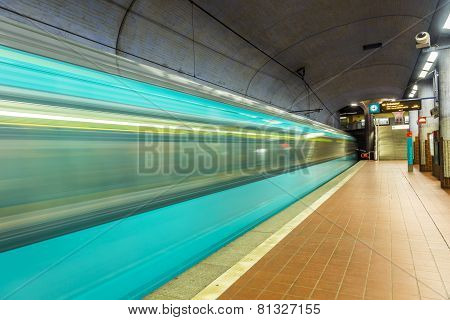 Metro Station With Arriving Train