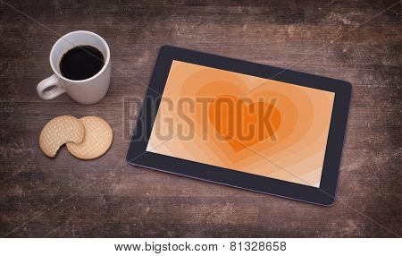 Heart Shape Backgound On Tablet