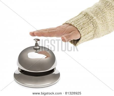 Male Hand Ringing Hotel Bell