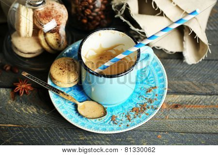 Beautiful composition with dirty cup of cappuccino