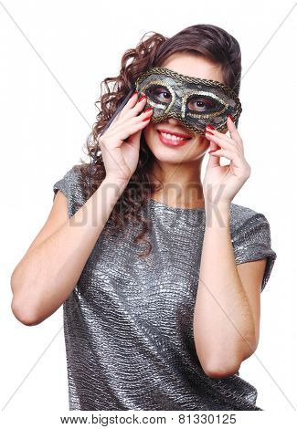 Beautiful girl with masquerade mask isolated on white