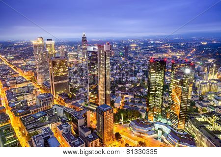 Frankfurt, Germany downtown financial district skyline.