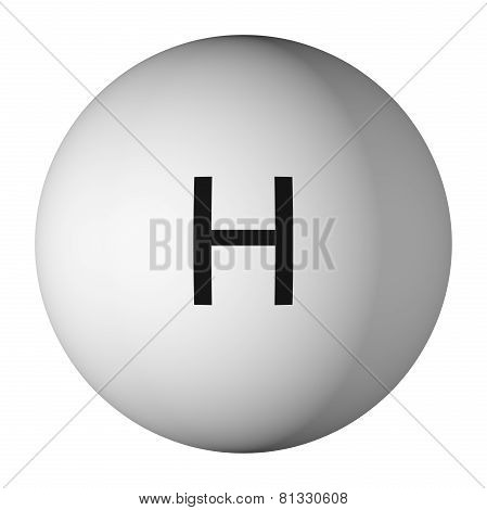 hydrogen Atom Isolated On White