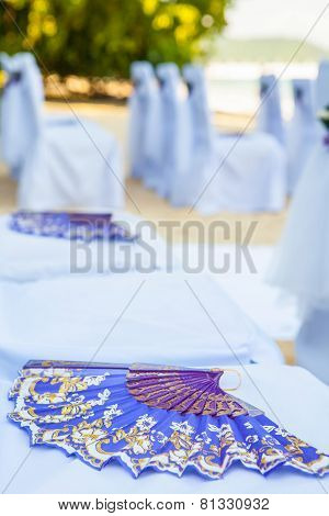 Closeup Of Beautiful Wedding Decorated On Beach Wedding Setup