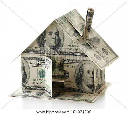 Dollar house isolated on white
