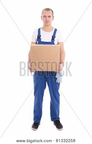 Delivery Concept - Man In Workwear With Cardboard Box Isolated On White