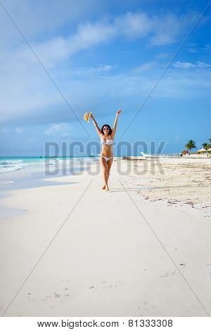 Happy Woman Having Fun On Tropical Beach Travel Vacation