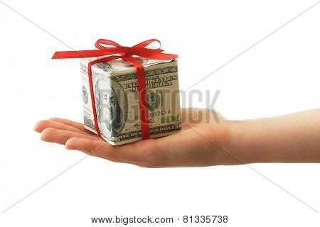 Hand holding dollar gift box with bow isolated on white